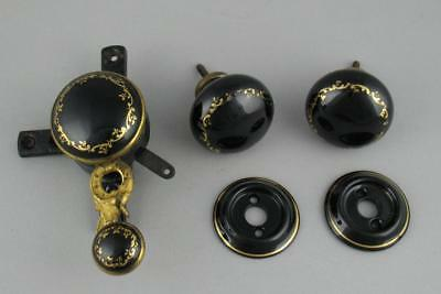 Antique Victorian Brass & Ceramic Servants Bell Pull & Matching Door Knobs Black