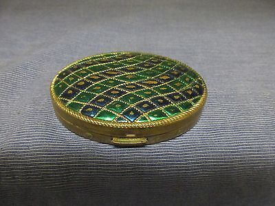 Old Vintage~AVON~Brass Metal Puffy Blue+Green Ripple Enamel Oval Pill/Coin Box