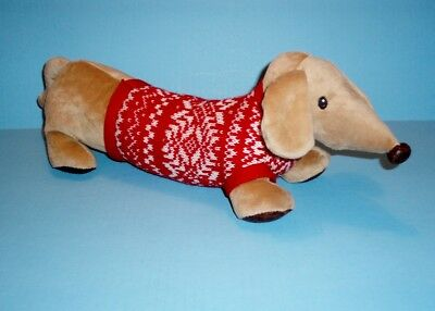 "18"" Plush Red Dachshund in Nordic Sweater"