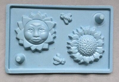 Soap And Candlemaking Mold, Sun, Sunflower, Bees, 1994, Pre-owned