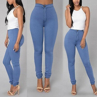 EP_ Women Pencil Stretch Casual Denim Skinny Jeans Pants High Waist Trousers Gif