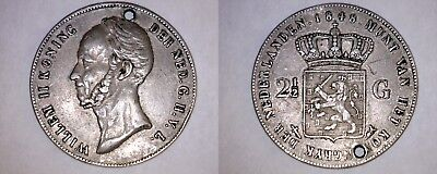 1848 Netherlands 2-1/2 Gulden World Silver Coin - Holed