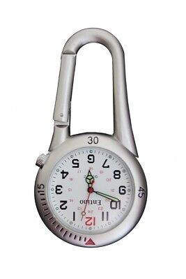 Entino Brand Silver Clip on Carabiner White Face FOB Watch Doctors Nurses Parame