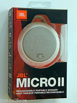 New JBL Micro II Wired Ultra-Portable White Audio Speaker Android iPhone