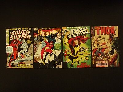 Lot Of 4 Comic Themed Post Cards - Silver Surfer - Spider-Woman - Thor - X-Men