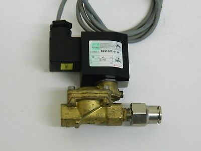"""Brass Solenoid Valve 1/4"""" Ports 12vdc coil with 12mm pushin fitting"""