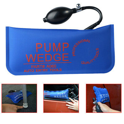 Blue Car Wedge Inflatable Shim Cushioned Auto Air Pump Bag Hand Tool Window Door