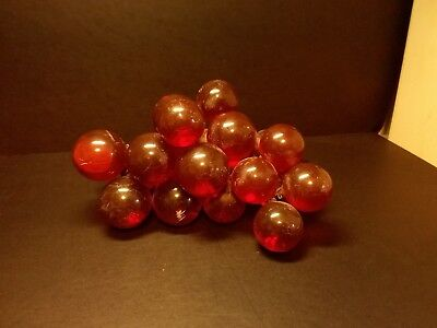Vintage Mid Century Red Glass Grape Clusters On Drift Wood
