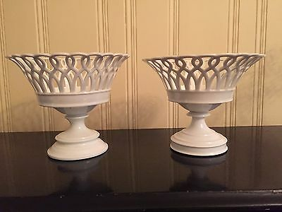 Two Antique White Porcelain Pierced Lookalike Compotes Fruit Baskets Pedestals