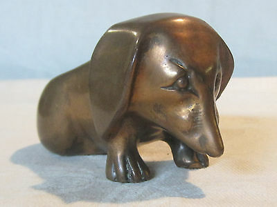Vintage copper Dachshund dog figurine pipe rest holder