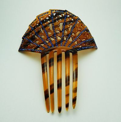 Vintage Faux Tortoise Shell Hair Comb with Blue Rhinestones Free Ship