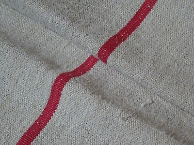 Antique European Feed Sack GRAIN SACK Red Stripe # 9462