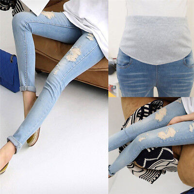 Pregnant Women's Denim Skinny Pants Adjustable Elastic Maternity Jeans Trousers_