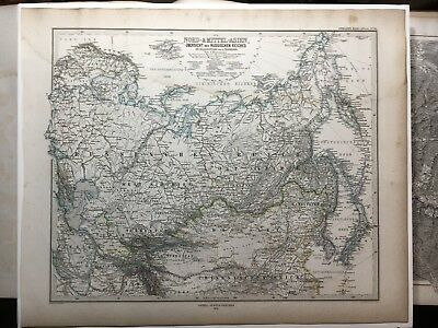 Lg. Antique PERTHES 1874 Map of Northern Asia China Japan Manchuria