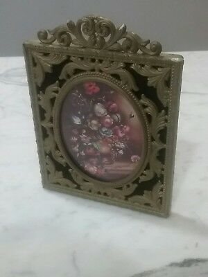 Vintage Ornate Brass Metal Frames SQUARE Made Italy GOLD FLOWER Oval Picture