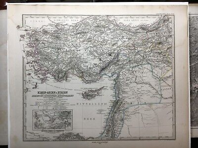 Lg. Antique PERTHES 1872 Map of Turkey and Middle East. Isreal, Syria, Armenia