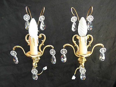 A Pair Of Vintage French  Gilt Bronze Wall Sconces,louis 15 Style.