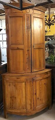 Antique French Provincial Bow Front Corner Cabinet Hutch Farmhouse Cupboard