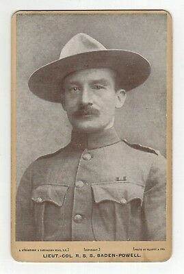 BADEN POWELL 1900 Victorian Cabinet Card The Founder of The Boy Scouts RARE
