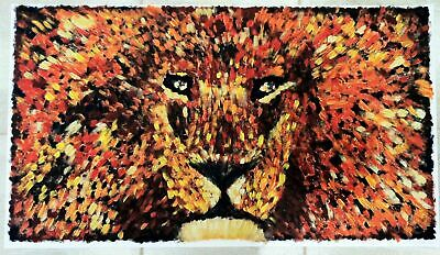 Golden Lion One-Of-A-Kind hand painted acrylic image on canvas by Alex Romanov