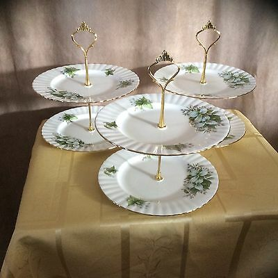 3 Royal Albert Trillium 2+1 Tier Cake Stands
