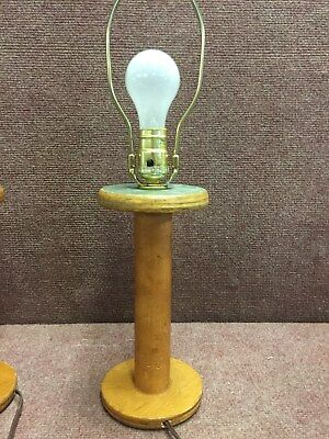 "Old Factory BOBBIN Accent LAMP 10"" Tall Primitive Vintage Country Antique"