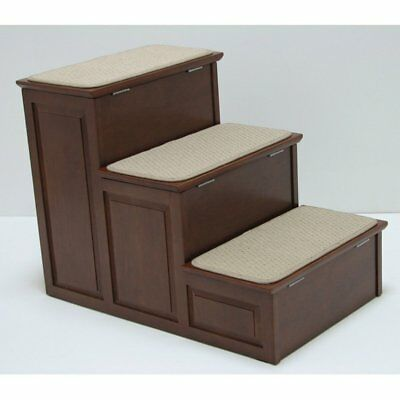 Crown Pet Designer Pet Steps with Storage, Mahogany