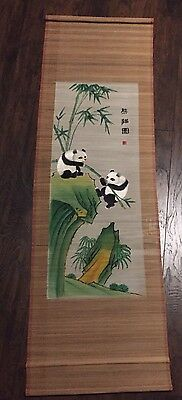 """Vintage 53"""" Giant Panda Extra Large Chinese Scroll Painted, Embroidered, Signed"""
