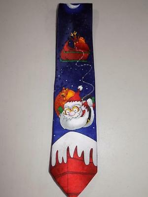 John Ashford Men's Christmas / Holiday Tie Blue Bungee Cord Santa NWT T479