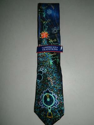 American Traditions Men's Christmas / Holiday Tie Reindeer 100% Silk NWT T432