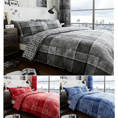 Denim Check Luxurious Duvet Covers Quilt Cover Reversible Bedding Sets All Sizes