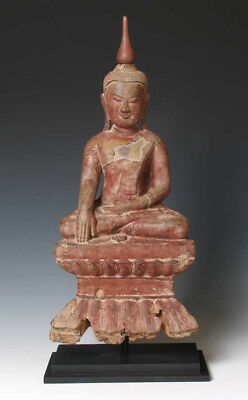 Burmese Lacquered Wood Buddha Image, seated in lotus position, 18th Century