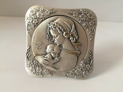 Argento 925 Sterling Silver By Cecchini Framed Mother and Son Baby Italy