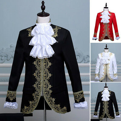 King Prince Renaissance Medieval Men Cosplay Costume Uniform Coat+Pants 2PC Set