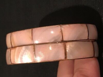 """Pair of Vintage, Pink, Mother of Pearl & Brass, Bangle Bracelet 2.75"""" X .5"""" (2)"""