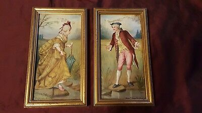Two Hand Painted Victorian Tile Porcelain Tile Plaques - Framed