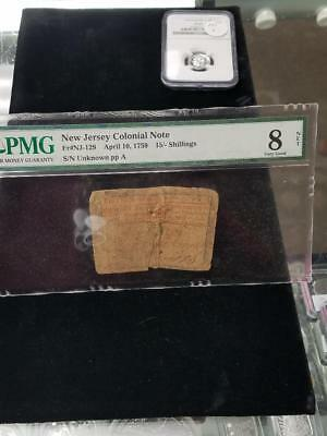 1759 New Jersey Colonial Note Contemporaneously Pinned Together at Center PMG 8