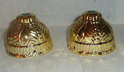 "PAIR OF VINTAGE 2""TALL BRASS COLORED  SHADE HOLDERS /2&1/2""inside across  base"