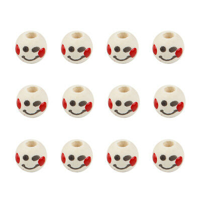 50pc Cute Emoji Expression Loose Wood Beads Ball Charm Fit DIY Bracelet 10mm