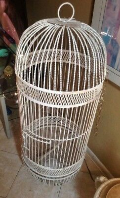 "Very Large Vintage Wrought Iron Bird Cage   2' 6"" Tall"