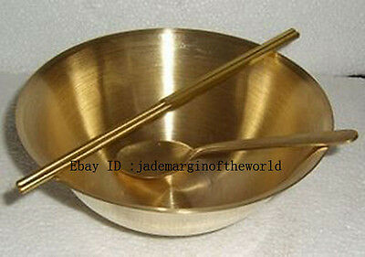 With thick copper bowl chopsticks spoons three-piece prevention and treatment of