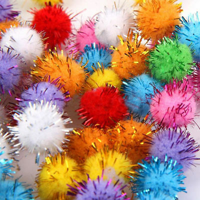 Lot 100pcs Glitter Tinsel Pompom Balls Small Pom Ball Cat Puppy pet Toys Gift