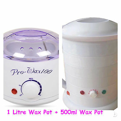 Wax Warmer Kit 1 Litre Wax Pot + 500ml Wax Pot Beauty Hairdresser Barber Compact