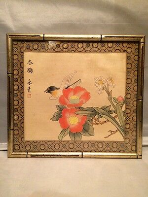 """Vintage Chinese Hand Painted on Silk Tree Blossom w Bird Signed & Framed 10""""x11"""""""