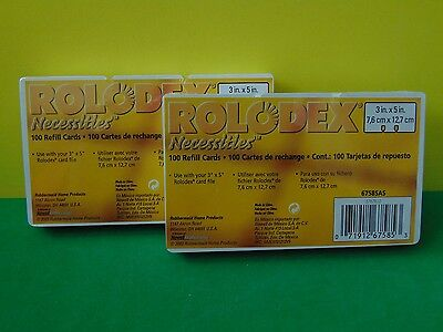 """200 Genuine Rolodex Rotary Refill Card 3"""" x 5"""" White Color New & Sealed"""