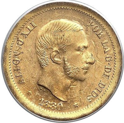 1880 Spanish Filipino Alfonso Xii Brass Pattern 50 Centimos Pcgs Ms-64 L@@k
