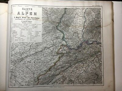 8 Sheet Antique PERTHES 1875 Map of ALPS matterhorn Mt. Blanc Wall Map