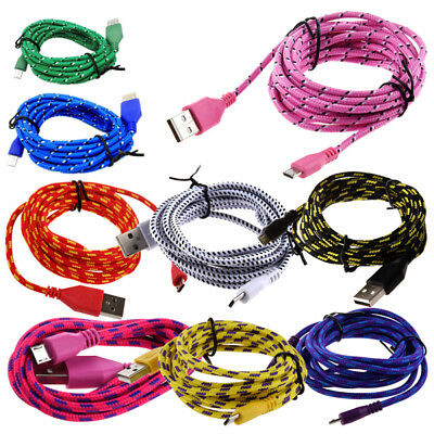 Braided Fabric Micro USB Data Sync Charger Cable Cord H3U5 for Android Nylon 1 X