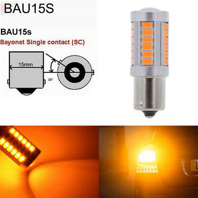 2 x Amber Stop Lights 1156 BAU15S PY21W 150° 33-LED Parking Tail Lamps Truck SUV