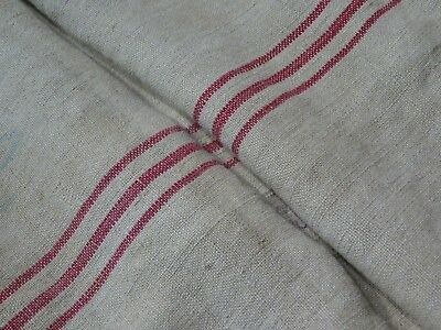 Antique European Feed Sack GRAIN SACK Red Stripe # 9494